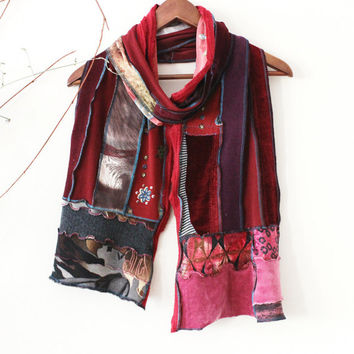 Handmade men scarf, Red colored scarf, Handmade scarf, Moher men scarves, Patchwork scarf, Unique scarf, Men christmas gift, Red color scarf