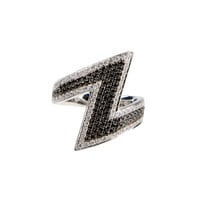 AS29 BLACK AND WHITE GOLD AND BLACK AND WHITE DIAMONDS PHALANX RING