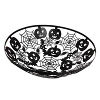 Metal Spiders and Pumpkins Decorative Halloween Bowl