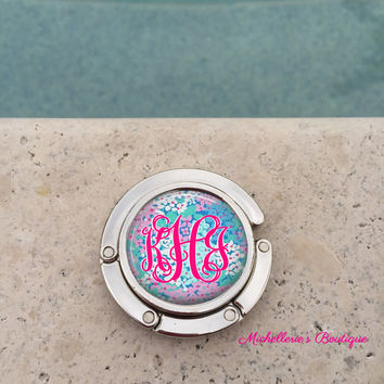Personalized Monogram Purse Hanger, Purse Holder, Purse Hook, Diaper Bag, Lunch Bag, Bridesmaid Gift, Wedding Party Gift, Mom