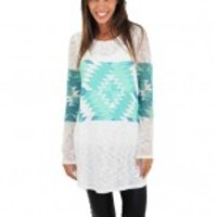Mint And Teal Aztec Print Top