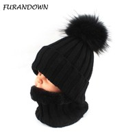 Kids Boys Girls Warm Fleece Liner Beanie Hat With Scarf Winter Fur Hats For Children Baby Pompom Skullies Beanies