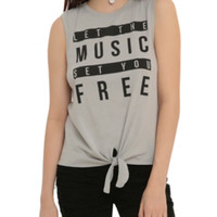 Music Set You Free Tie Front Girls Muscle Top