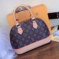 LV Louis Vuitton hot sale printed letters stitching color ladies one-shoulder shell bag shopping messenger bag Coffee lv print&Brown