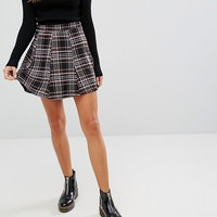 Bershka Check Tailored Flippy Skirt at asos.com