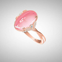 Cocktail ring with central rose quartz and 0.40 cts white diamonds set in 6.5 gr of 18k rose gold