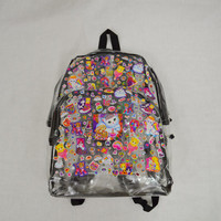 Lisa Frank Backpack Clear Bag Cat Kitten Rainbow Seapunk Cyber Kawaii Grunge Accessories Glitter Shimmer Lisa Frank Stickers 90s Full Size