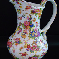 Rose Chintz Water Pitcher Gold Gilded Formalities by Baum Bros Romantic Victorian Floral China