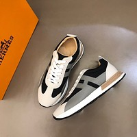 HERMES 2021Men Fashion Boots fashionable Casual leather Breathable Sneakers Running Shoes 08120cx