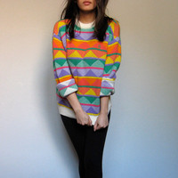 Vintage Knit Sweater Jumper 80s Colorful Ugly Sweater Orange Yellow Green Multicolor Conte of Florence - Small. Medium. S/ M