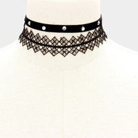 """13"""" black 1"""" lace .40"""" crystal velvet studded choker necklace 2 separate pieces"""