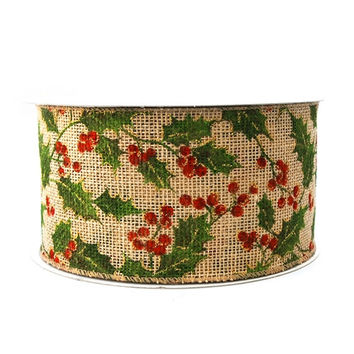 Holly Leaf Burlap Christmas Ribbon, 4-inch, 25-yard