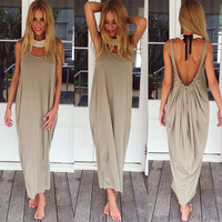 Plain Pleated-Back Strap Maxi Dress