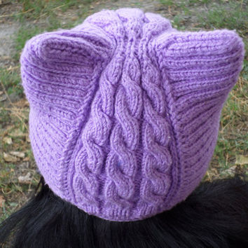 knitted warm hat with ears hat-cat,knitted hat,knitted hat,hat with ears,hat winter,hat for fall,warm hat,original hat,hat for girls,cat-hat