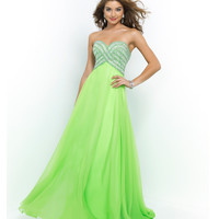 Apple Green Strapless Jeweled Bandage Bodice Long Chiffon Gown