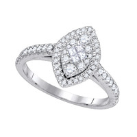 Diamond Soliel Fashion Ring in 14k White Gold 0.52 ctw