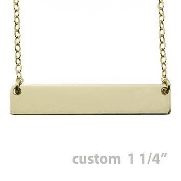 """Gold Name Plate Necklace Custom 1.25"""""""