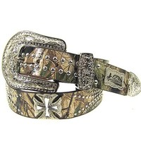 "Western Montana West Camo Rhinestone Maltese Cross Genuine Leather Biker Belt (Large (37"" - 42""))"