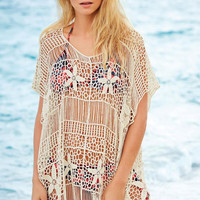 White Floral Crochet Kaftan with Cut Outs
