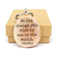 Personalized Graduation keychain graduation gift Gandhi going away gift wood key chain graduation favors class of 2016 eco friendly