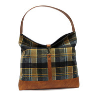 Blue Plaid Hobo Bag, Slouchy Tote Bag, Vegan Leather Hobo Purse, Blue Shoulder Bag, Wool Leather Handbag, Slouchy Shoulder Bag, Boho Handbag