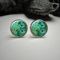 Peacock Cuff Links and Tie Clip Set 20mm/Peacock Feathers Tie Clip and Cuff Link Set for Him/Men Gift