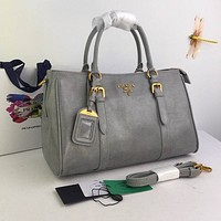 Prada Women Leather Shoulder Bag Shopping Satchel Prada Tote Bag Handbag