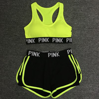 Victoria's Secret PINK 2018 summer sports bra shorts, women's jogging, shock yoga, fitness vest, underwear two sets
