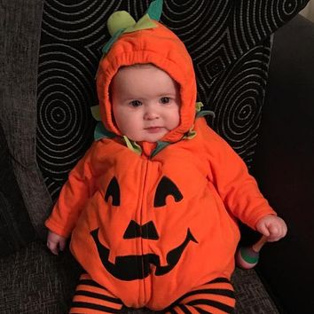 Newborn Baby Boy Girl Pumpkin Romper Jumpsuit Long Sleeve Halloween Hooded Baby Winter Clothes Rompers Costume Jumpsuit Outfits