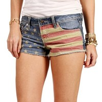 Denim American Flag Fringe Shorts