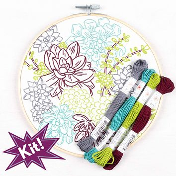 """Succulent Garden 8"""" Embroidery Kit"""