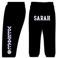 Custom Volleyball Sweatpants-Black-Adult Medium
