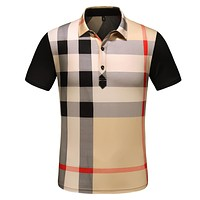 BURBERRY Summer Men Casual Plaid Short Sleeve Lapel T-Shirt Top Tee