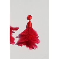 Ambrosia Feather Earrings Red