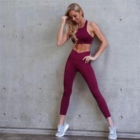 2018 Fashion Women Sport Suit Gym Yoga Sets 2 Pcs Women Sportwear Yoga Set Fitness Sportwear Workout Set Fitness Yoga Wear