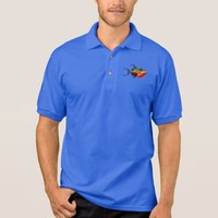 Psychedelic Colorful Triggerfish Fish Drawing Polo Shirt