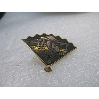 "Vintage Village Scene Damascene Brooch, Fan Shaped, 1960's, 1.5"" by 1"", c-clasp"