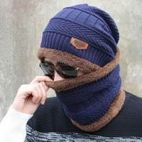 Scarves For Women Unisex Knitted Hat And Scarf Set With Fur Lining