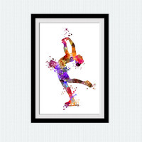 Ice skating poster Figure skating art print Figure skating colorful painting Home decoration Kids room decor Sport wall art poster W486