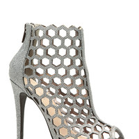 Silver Glitter Piped Cut Out Peep Toe Heels