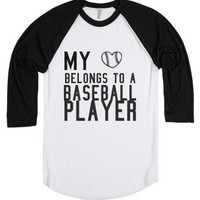 My heart belongs to a baseball player-Unisex White/Black T-Shirt