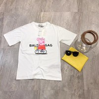 """Balenciaga x Peppa Pig"" Unisex Casual Fashion Cute Letter Cartoon Pattern Print Couple Short Sleeve T-shirt Top Tee"