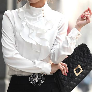 Fashion stand collar long sleeve  female shirt OL office Formal elegant ruffles chiffon women's blouse plus size bow tops #580