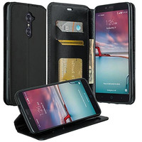 ZTE ZMAX Pro Case | Blade X Max | ZTE Carry | ZTE Grand X Max 2 Case | ZTE Imperial Max Case | ZTE Max Duo Pu Leather Magnetic Fold[Kickstand] Wallet Case with ID & Card Slots - Black