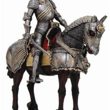 Medieval Knight Riding Horse with Full Armor
