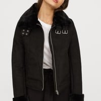 Jacket with Faux Fur Lining - Dark beige - Ladies | H&M US