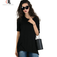 Black Short Sleeve Side Slit Boyfriend Long T-shirt Tee High Low Asymmetric Loose Casual Oversized Streetwear Top 2016 Women