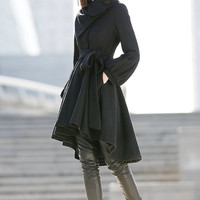 Asymmetrical Wool Coat - Black Winter Pea Coat Jacket with Large Chunky Cowl Neck and Puffy Lantern Sleeves Womens Outerwear C192