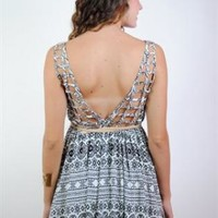 Black & White Aztec Print Dress with Lattice Back