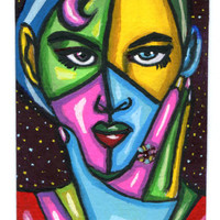 aceo atc art abstract original painting modern woman thinking mini Elizavella